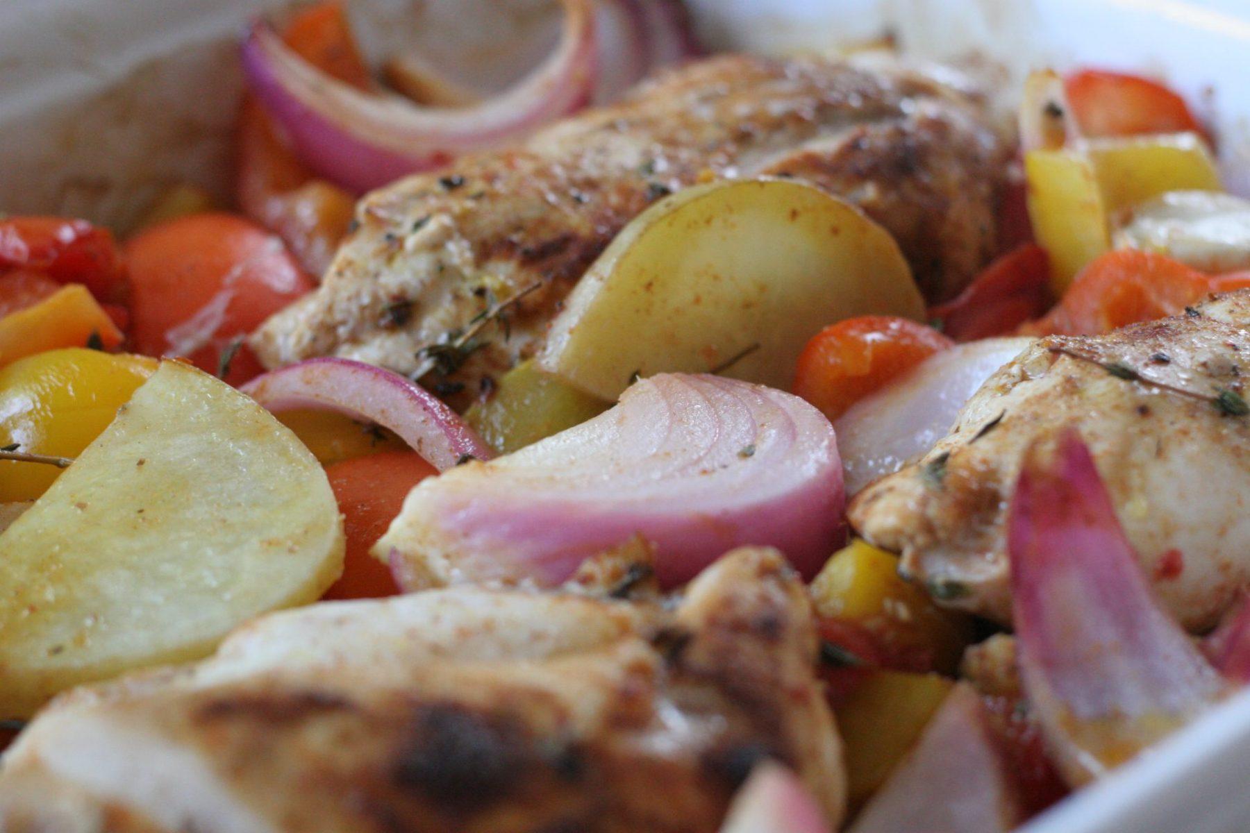 chicken roasted rainbow veggies