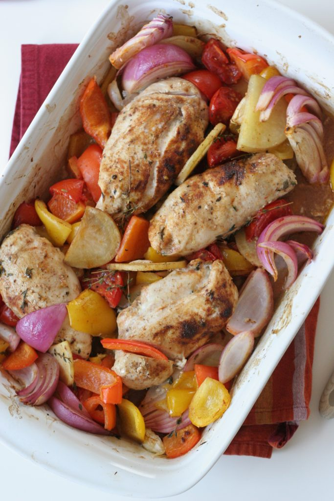 chicken with roasted rainbow veggies