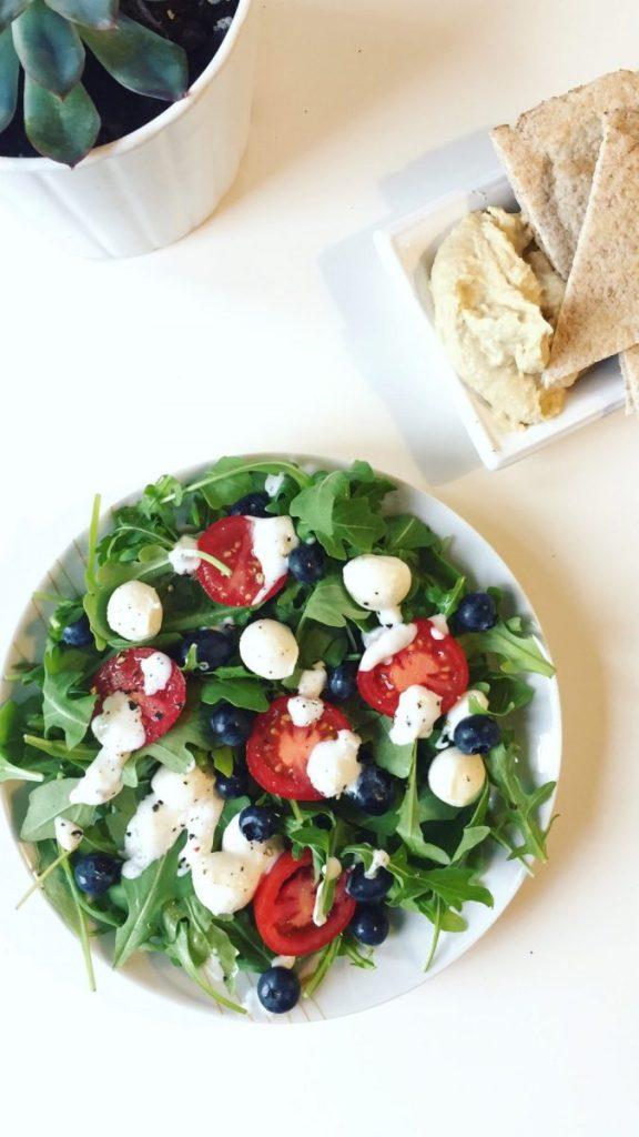 Simple Arugula Salad with Boccochini Cheese