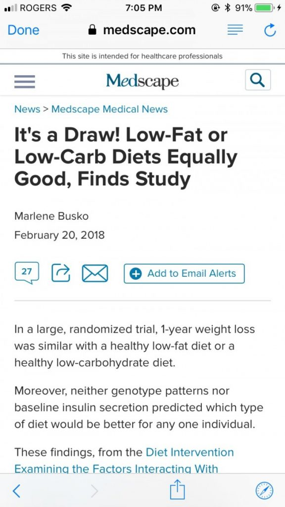 low fat or low carb diet
