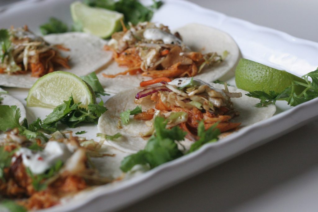 slow cooker chicken tacos with crunchy slaw