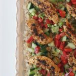 easy spiced chicken salad with brown rice
