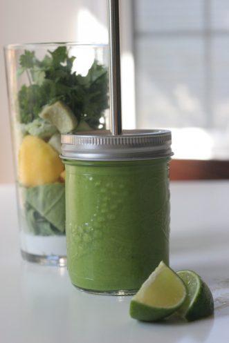 tropical green smoothie in a mason jar