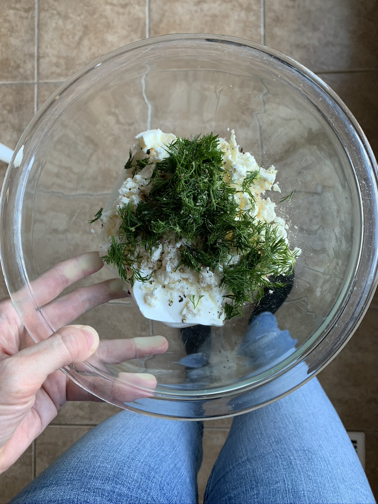 This Easy Greek Dip with Feta is so simple to make and tastes amazing. Here are all the ingredients in a whole before mixing.