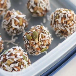 Close up shot of Calfornia Prune Energy Bites in a plastic container