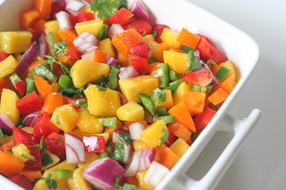 Close up of Simple Mango Salsa in a white dish
