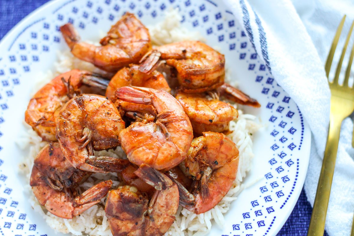 Close-up of Sweet and Spicy Shrimp on a blue and white platev