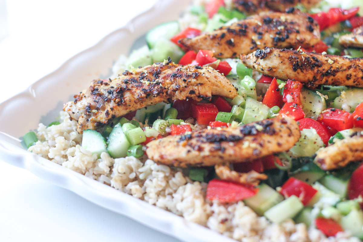 Close up of a the healthy supper Easy Spiced Chicken Salad with Brown Rice