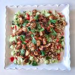 Easy Spiced Chicken Salad with Brown Rice on a large white platter
