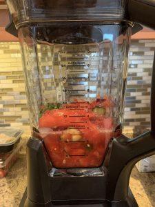 Easy Watermelon Summer Gazpacho ingredients before blending in a blender