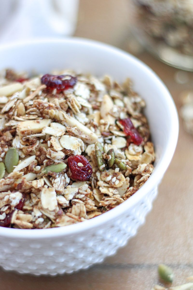 Healthy Gluten Free Granola in a small white bowl