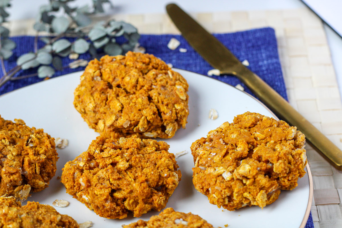 healthy pumpkin muffins on a white plate