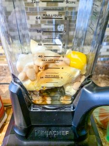 Ingredients in the blender healthy banana bread