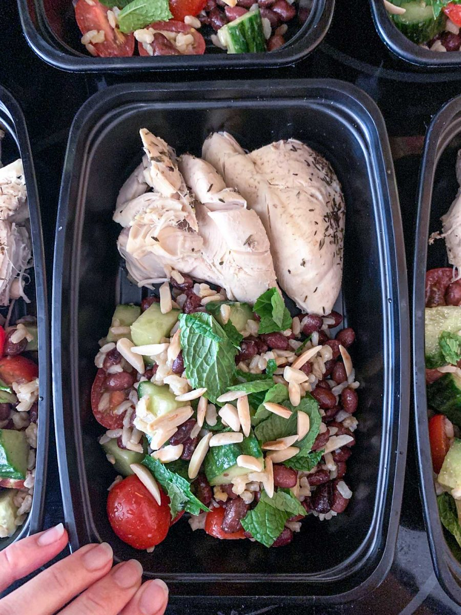 Moroccan-Spiced Black Bean Salad with chicken meal prep