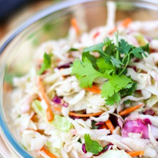 A close up of coleslaw in a bowl