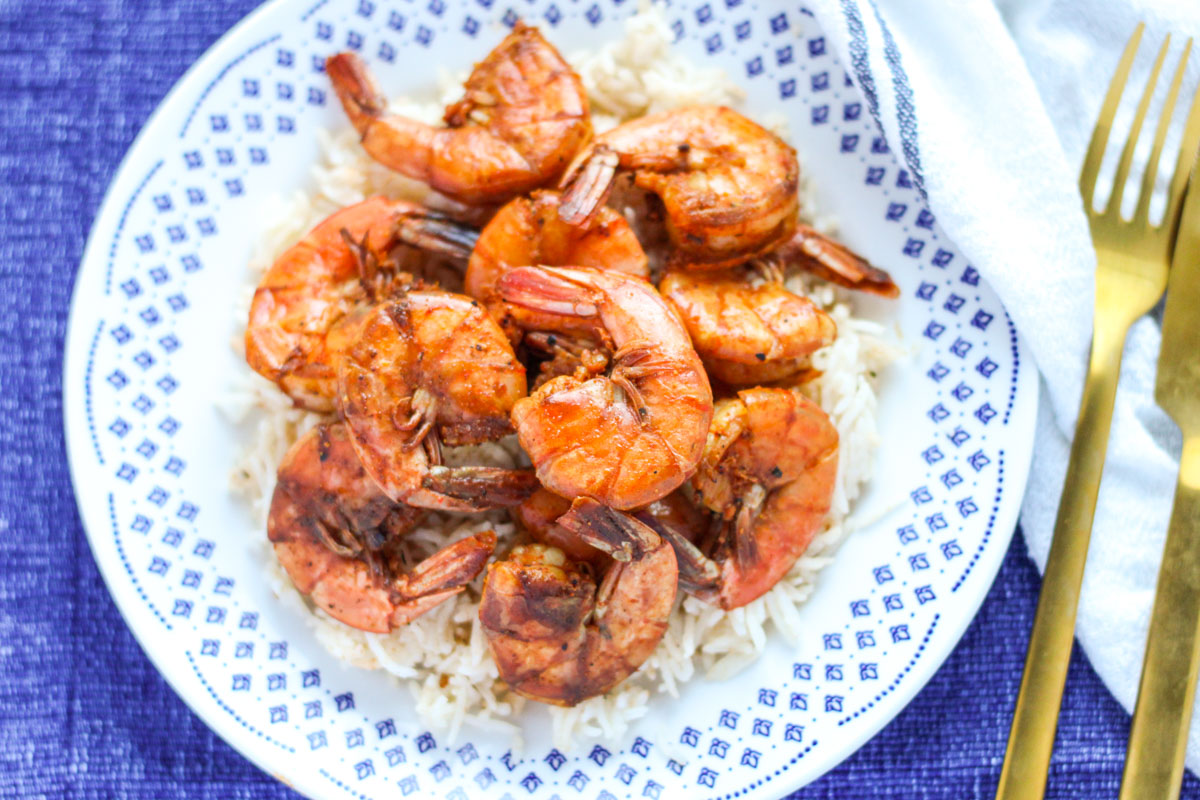 Small blue and white plate with Sweet and Spicy Shrimp