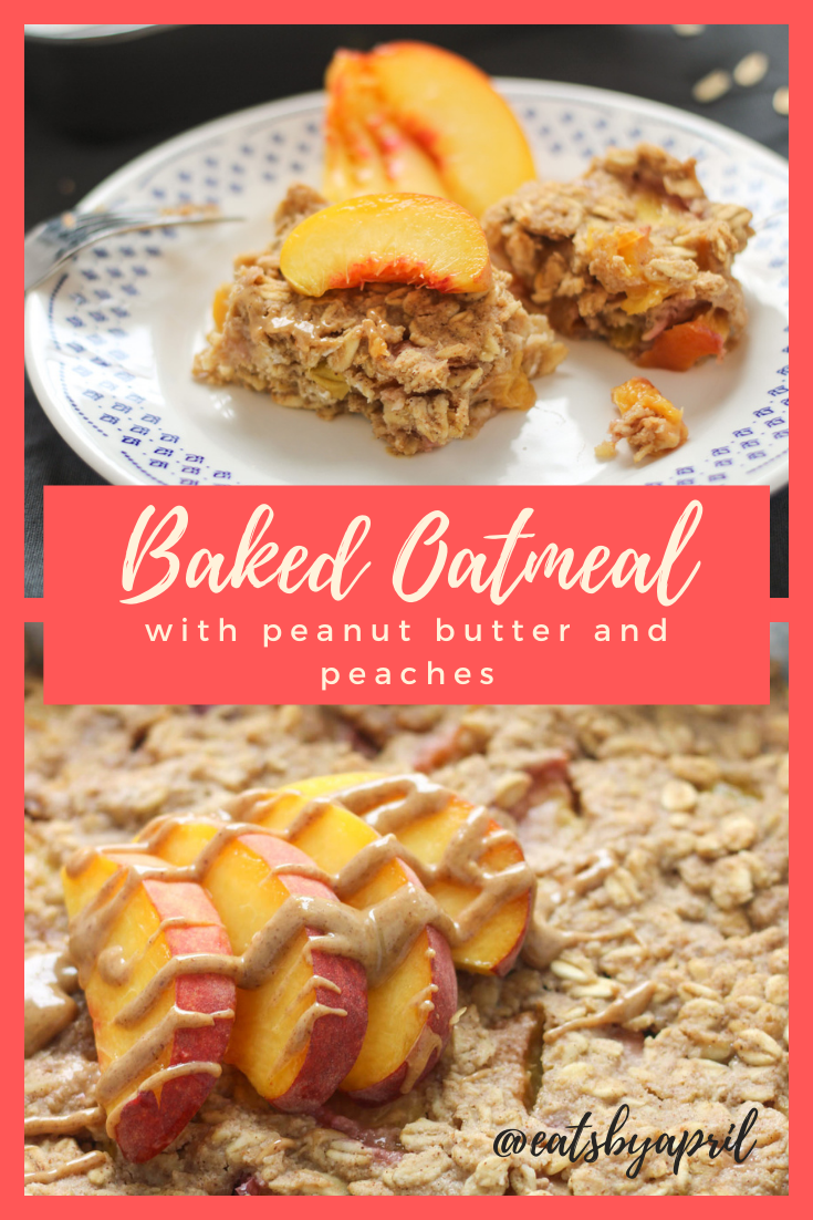 Two slices of baked oatmeal with sliced peaches on a small white plate