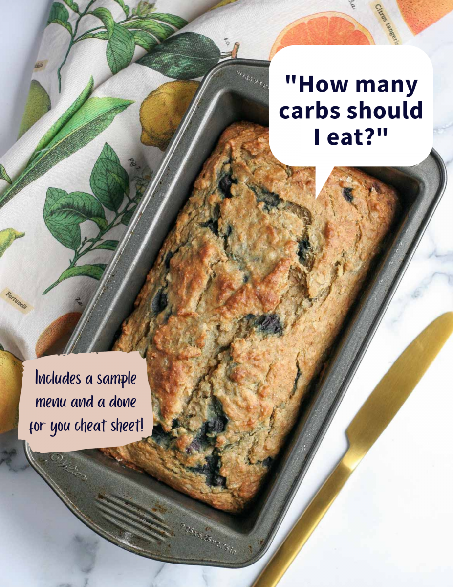 "banana bread with the text ""how many carbs should I eat"""
